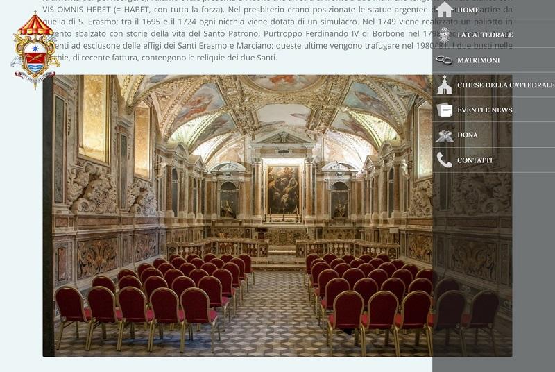 Menu a comparsa sito web Cattedrale Gaeta