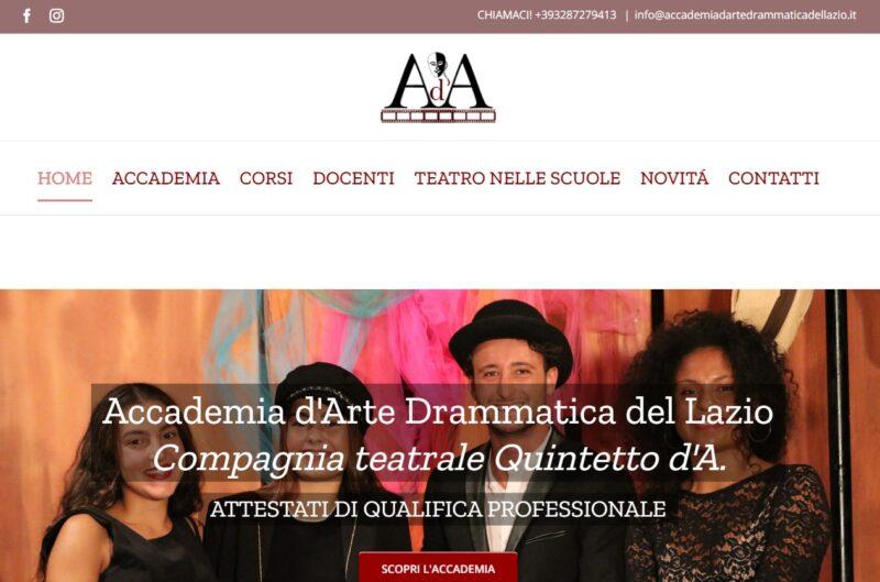 Screenshot home page sito web Accademia realizzato da Gaetano Pastore